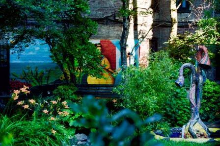 Beautiful mural in Spanish Harlem garden park